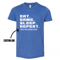 CUSTOM EAT GAME SLEEP REPEAT Youth T-SHIRT